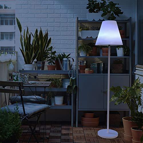 Moovere Lámpara de Pie con Altavoz Integrado 5W, Carga Solar y Batería, Luz LED RGB con Control Remoto, 165 cm.