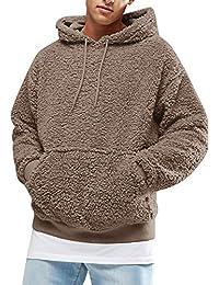 Gemijacka Herren Kapuzenpullover Plüsch Hoodie Sweatshirt Teddy-Fleece Mit  Taschen ec883b2aad