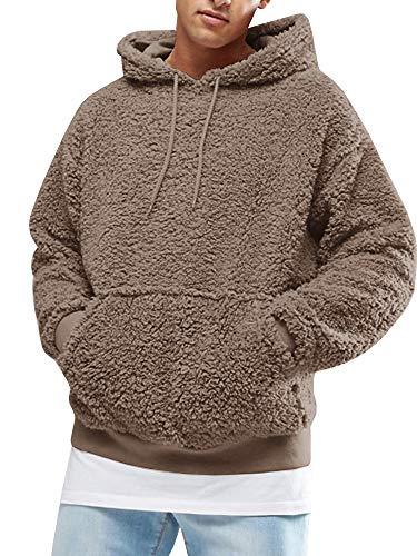 Gemijacka Herren Kapuzenpullover Plüsch Hoodie Sweatshirt Teddy-Fleece Mit Taschen - Plüsch Pullover