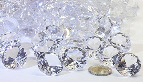 Deko-Diamanten 30mm KLAR -GROSSPACKUNG- Brillante Streudeko zur Tischdekoration und Hochzeitsdeko