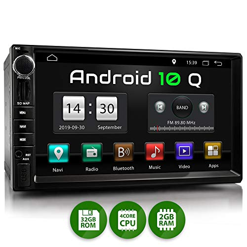XOMAX XM-2VA757 Autoradio mit Android 10, QuadCore, 2GB RAM, 32GB ROM, GPS Navigation I Support: WiFi WLAN, 3G 4G, DAB+, OBD2 I Bluetooth, 7 Zoll / 18 cm Touchscreen, USB, SD, AUX, 2 DIN