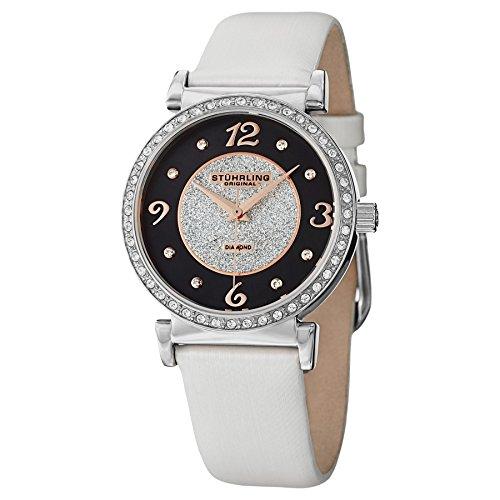 Stuhrling 711.01–Orologio per Donna, Cinturino in pelle colore bianco