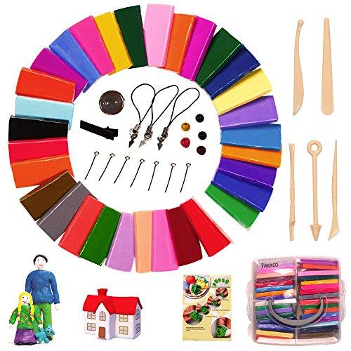 Trekoo Polymer Ton 32-Farben Clay Plastilin Backofen Backen Weichen DIY Ton Moulding Prozess Spielzeug Set Kinderknete Beste Geschenke Weihnachtsgeschenke Lernspielzeug (32)