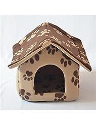 OOFWY La pata del perro mascota linda impresión cómodo Auto Calentamiento Nido desmontable para mascotas , brown , M