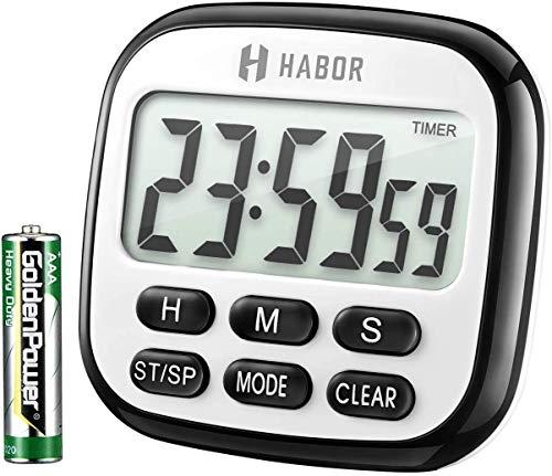 Habor Timer und Uhr 2 in 1 24H Küchentimer Digital magnetisch Kitchen großem LCD Bildschirm mit Lauter Alarm Countdown Retractable Stand Magnetic Backing für Kochen, Backen, Sport, Studieren, Schwarz