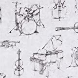 Robert Kaufman Grauer Baumwollstoff mit Musikinstrumenten