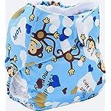 ohbabyka impreso diseño reutilizable lavable bolsillo bolsa para pañales con 1Inserte (monkey-1)