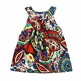 Amlaiworld Sommer Bunte Geometrie drucken Neckholder Kleid Party Mandala Ärmellos Kleider Mode Strand Mädchen locker Oberteile niedlich Dress Kleidung,1-8 Jahren (5 Jahren, Gelb)
