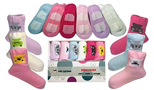 Baby Antirutsch Socken für Mädchen, ABS Socken, super Geschenk für Mädchen im Alter von 1-2 Jahre, 6 Paar mit Antirutsch Noppen Von Tiny Captain (Baby Socken Geschenk-box)