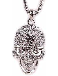 Lily joyas estilo Punk de calavera colgante de cristal austríaco larga cadena Retro Vintage collar