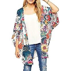 Mujeres Verano Kimono Cardigan Bikini Cover up Floral Beach Robe Kaftan Boho Blusa Top Ropa de Playa Colorido, XX-Grande