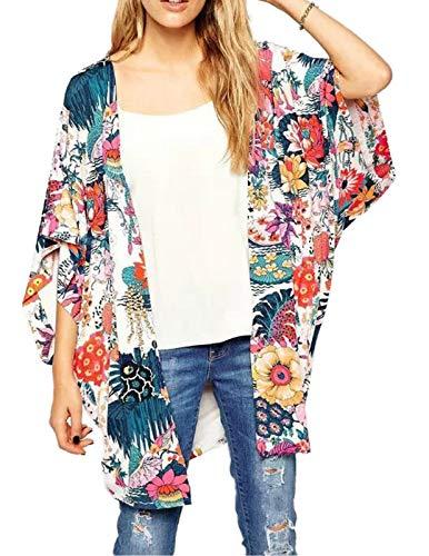 Zexxxy Women Chiffon Loose Shawl Print Kimono Cardigan Top Beach Cove Up     Mujeres boho summer casual 3/9 manga de murciélago abierto frente gasa abrigo tops.  >  Cubiertas de bikini estilo kimono con un hermoso diseño floral, crea una ilusión...