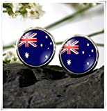 JUN Australian Flag Ohrring Australien National Flagge Ohrstecker Dome Glas Schmuck, Pure Handgefertigt