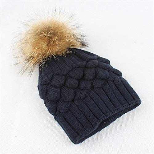 Wolle warme Mütze Doppelfutter Hairball Womens Winter Stricken tägliche Slouchy Hüte Hut (Farbe : Navy)