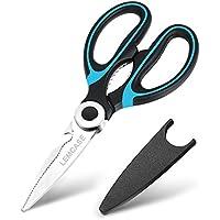 LEMCASE Tijeras de Cocina, Scissors Multiuso - Cuchilla de Acero Inoxidable con Cubierta Protectora | Azul