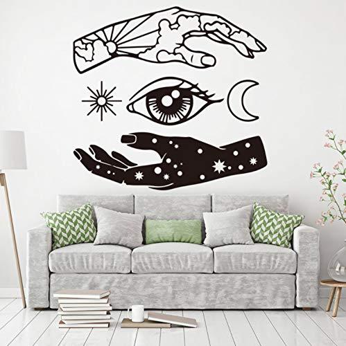 qwerdf Wall Sticker Hand Shadow Moon Sun Eye Star Wall Decal Abstrakte Vinyl-kunstkleber Tapete Wohnzimmer Zu Hause Dekoratives Wandaufkleberzimmer Schlafzimmer 80 * 84cm - Shadow Wall Decal