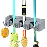 Vicloon Broom Mop Holder Tidy Organizer, Wall Mounted Organizer with 3-5 Position 4-6 Hooks for Brush Mop and Broom Tool Storage