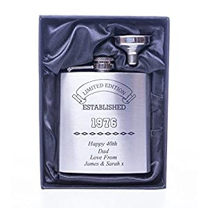 5142U%2BKQvwL. SS300  - Engraved/Personalised *Established Birthday Design* Hip Flask in Silk/Satin Gift Box