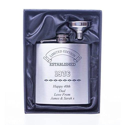 5142U%2BKQvwL. SS500  - Engraved/Personalised *Established Birthday Design* Hip Flask in Silk/Satin Gift Box