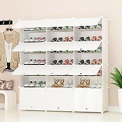 PREMAG Organizador de Almacenamiento de Calzado portátil Tower, Blanco, Estante de gabinete Modular para Ahorrar Espacio, estantes de Zapatero para Zapatos, Botas, Zapatillas 3 * 7