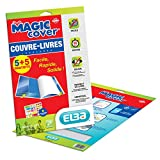Elba 1 paquet de 5 + 5 Magic Cover Couvre-Livres en PVC Lisse Incolore