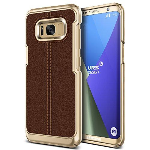 Preisvergleich Produktbild Galaxy S8 Hülle, VRS Design® Leder Schutzhülle [Braun] Handytasche Slim Case mit Echt-Leder Außenseite Ledertasche [Simpli Mod] für Samsung Galaxy S8 2017
