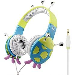 Auriculares Niños, Cascos Infantil Música para Niños con Volumen Limitado, sobre el oído estéreo ajustable para iPhone iPad mini iPad Tablets PC MP3 con 3.5mm Jack, Regalo para Niño de 3-12 Años
