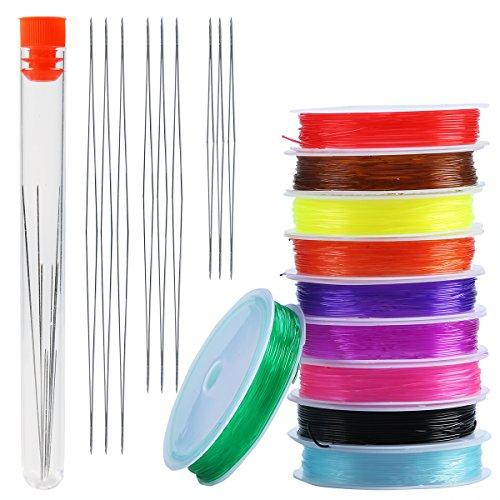 Tefeler 9 Stück Perlen Nadeln in 3 Größe Groß Auge Perlen Nadeln big eye Nadel mit Nadel Flasche+ 10 Rolle elastisch Faden 9m 0,8mm Schmuckfaden in 10 Farben
