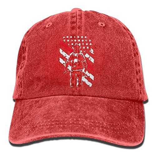 UUOnly Justierbare Denim-Gewebe-Baseballmütze der Feuerwehrmann-dünne rote Linie Normale Kappe