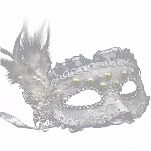 ,Make-up Abschlussball Maske sexy für Männer und Frauen Spitze volles Gesicht Maske des weißen Schleiers kein Schleier weiß Masquerade ()