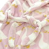 OverDose Damen Kinder Baby Print Flanell Bademäntel Hoodie Handtuch Pyjamas Home Party Nacht Plüsch Weichen Kleid(Violet,7-8 Jahre)