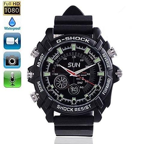 Full HD 1080P Hidden Caméra espion Waterproof Watch Mini DV enregistreur avec vision nocturne infrarouge Vidéo numérique DVR 8GB Memory @ Laing