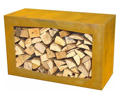 YERD Holzbox: stabiles Kaminholz-Regal 80x50x35cm in echtem Corten-Stahl oder Stahl schwarz/anthrazitt, verschweißtes Stahl-Regal / Sitzbank für Feuerholz, stapelbar,...