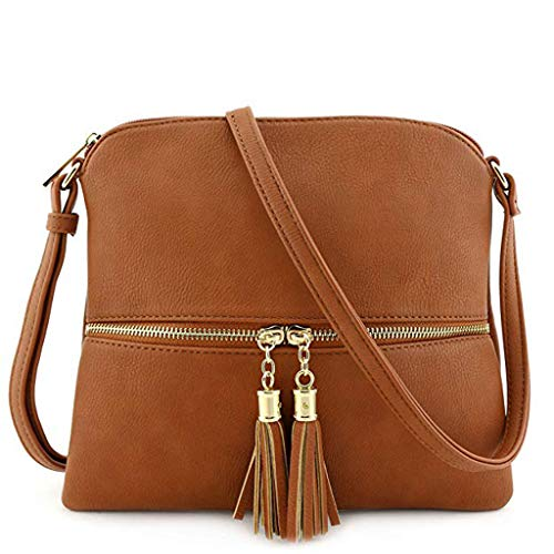 Dorical Handtasche Umhängetasche Damen Vintage Quaste Einfarbig Messenger Tasche Mädchen mit Verstellbarem und abnehmbarem Schultergurt, Schultertasche Shopper Henkeltasche(Braun)