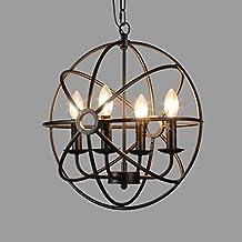 BAYCHEER Retro Industria iluminación de techo (E14/E12, 43 cm de diámetro, 4 portalámparas de estilo Loft comedor vintage lámpara Salón Mode creativos pájaro Bauer araña