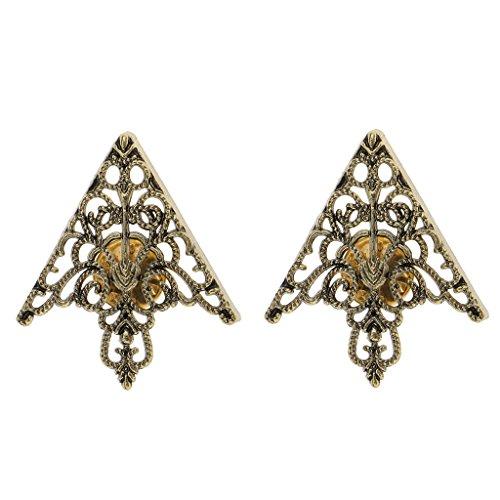 Kragenkette Brosche Collar Clip Pins Brooch Hollow Dreieck Antique brass