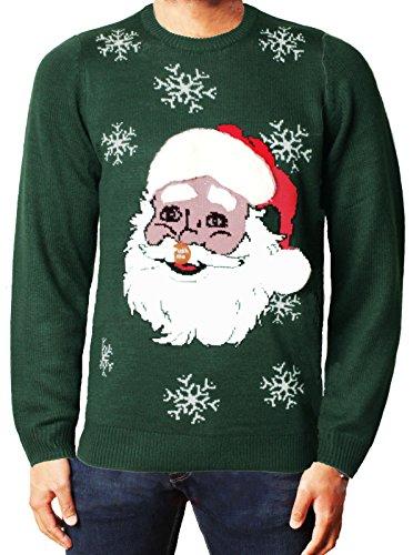 Natale Saltatore Xmas Novità 3D Maglione Babbo Elfo Pupazzo di neve Maglieria Threadbare IMX016 Santa Bottiglia verde