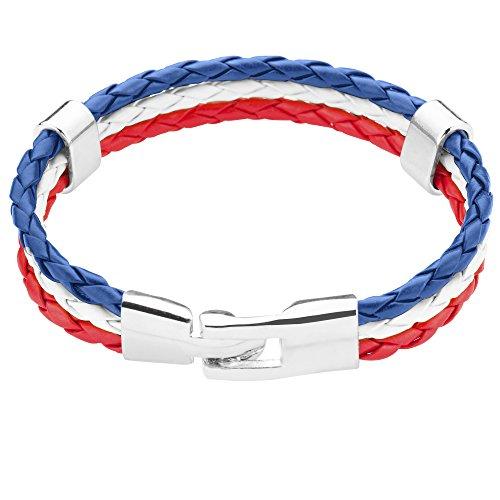 Taffstyle® Stylisches Armband PU Lederarmband Kordelarmband Fanartikel Fussball Weltmeisterschaft WM & EM Europameisterschaft 2016 Länder Style geflochten - Frankreich - 21cm