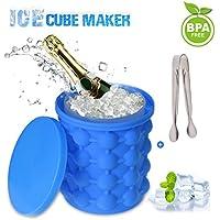Ice Cube Maker, Bac à Glaçon Silicone Ice Cube Magique Magic Glacon Moules à Glace Seau Ice Genie 120 Glacon Bac a Glaçons Silicone avec Couvercle pour Cocktail Whisky Maison Fête Cuisine
