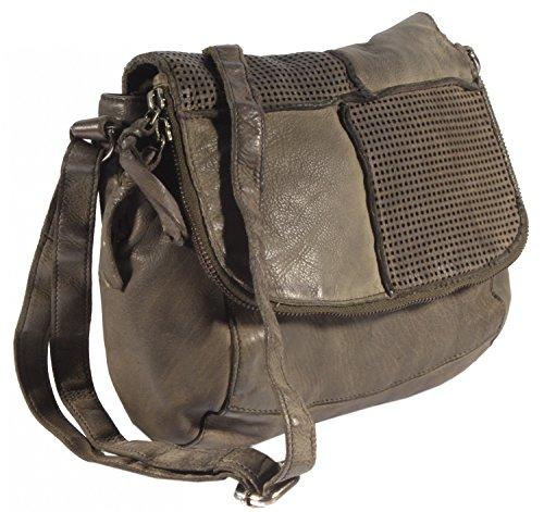 Provagna - kleine Umhängetasche Ausgehtasche Leder Used-Look Perforiert Vintage PatchMuster URBAN BAG Damen Schultertaschen Handtaschen 22x20x7 cm (B x H x T), Farbe:schwarz braun