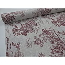 Confección Saymi - Metraje 2,45 mts. tejido loneta estampada Toile de Jouy Ref. Julia Rojo, con ancho 2,80 mts.