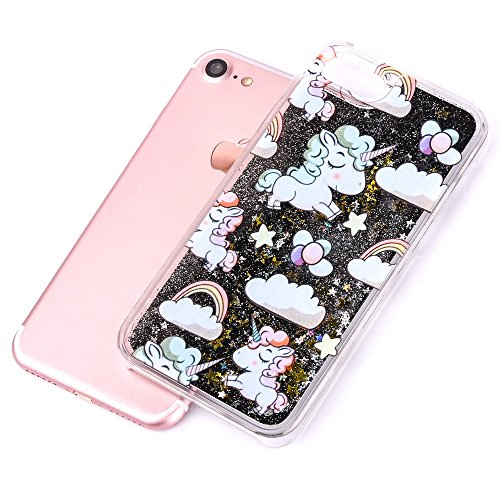 iPhone 7 Silikon Hülle,iPhone 7 Glitzer Hülle,iPhone 7 Transparent Hülle,iPhone 7 Crystal Clear TPU Case Hülle Klare Cristall Silikon Gel Schutzhülle Etui für iPhone 7 4.7 Zoll,EMAXELERS iPhone 7 (4.7 A Unicorn Liquid 6