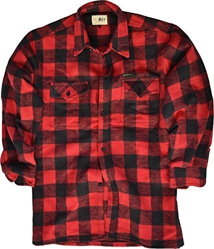 Bûcheron Chemise / 100% Coton / épais Qualité / S - 3XL - Noir/rouge, L