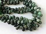 GEMS-WORLD BEADS GEMSTONE 1 Strand Natural Green Emerald Faceted Tear Drops, Original Emerald Necklace, 6x12mm - 6x9mm, 8 Inch