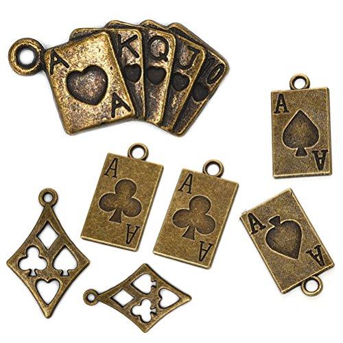 OBSEDE Poker Card Casino Charms Bastelbedarf für Schmuckzubehör Machen 4 Verschiedene Charms 50Pcs