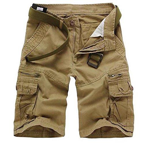 WSLCN Homme Eté Cargo Shorts Bermuda Pantacourt Vintage Short de Sport Outdoor Shorts sans Ceinture C-Beige FR 46 (Asie 38)