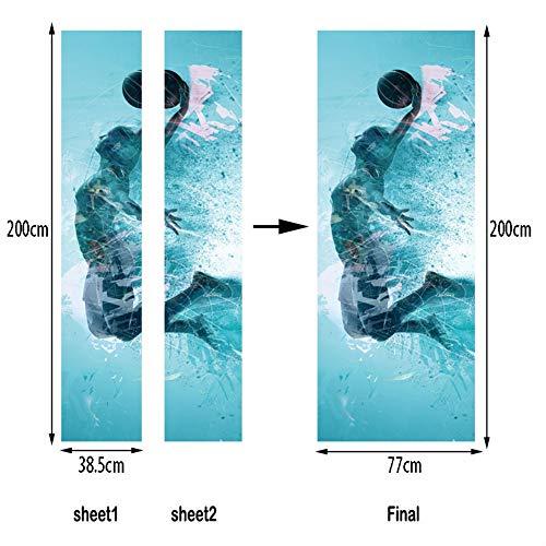 Tayohye 3D Kreativität Blauer Basketball Türaufkleber, Wasserdicht Schlafzimmer Wohnzimmer Dekoration Türaufkleber