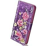 Herbests Handyhülle für Huawei P20 Handytaschen 3D Bunt Glitzer Glänzend Kristall Retro Muster Ledertasche Bookstyle Flip Case Cover Klapphülle Handy Schutzhülle Tasche,Rosa Blumen