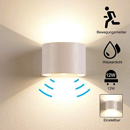 12W Wandleuchte Bewegungsmelder Aussen Warmes Licht Wasserdicht Verstellbare lampe, Bewegungsmelder LED Wandlampe Innen Wandleuchte Sensor für Garten/Flur/Weg,Weiß [Energieklasse A+] (Outdoor Wandleuchte-bewegungs-sensor)