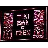 Cartel Luminoso ADV PRO i573-r Tiki Bar is OPEN Mask Display NR Neon Light Sign